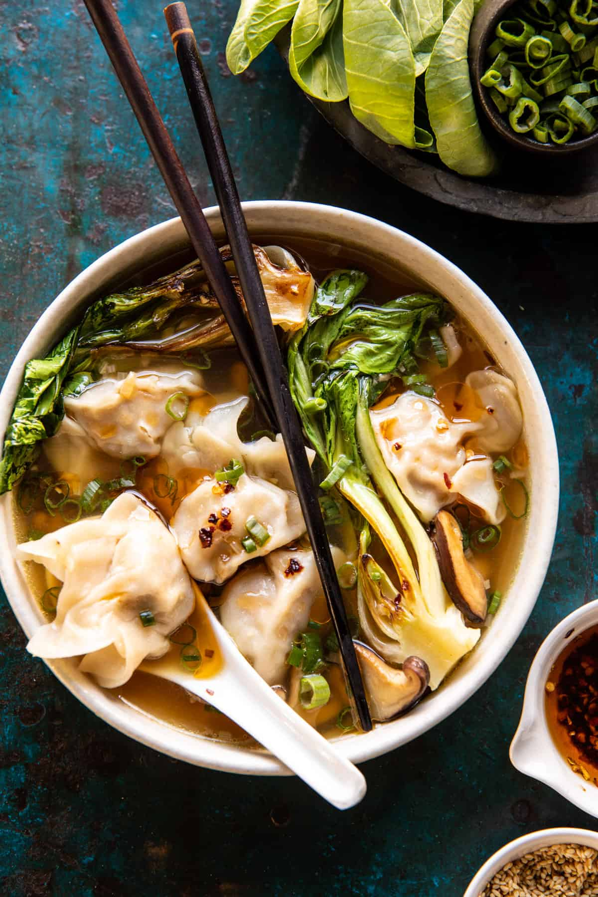 25 Minute Wonton Soup with Sesame Chili Oil